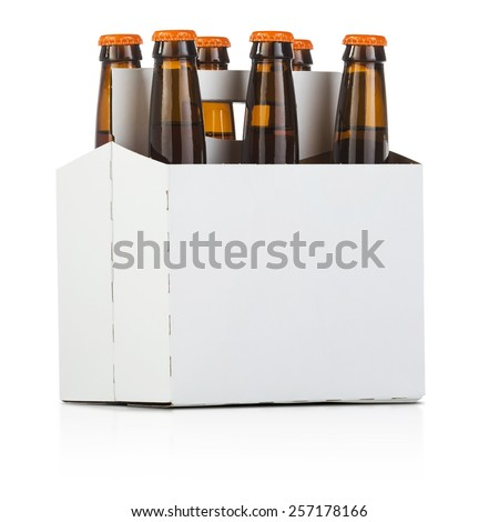 a six pack bottle of beer on white - stock photo