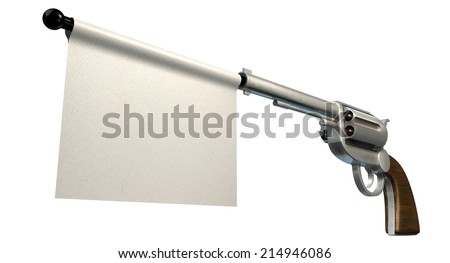 A six shooter gun with a blank white flag coming out the barrel on an isolated white background - stock photo
