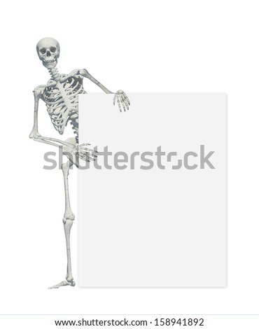 A skeleton standing casually and holding a sign on a white background .may use as halloween background - stock photo