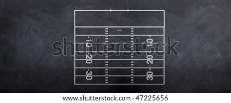 A sketch of an American football attackign end field of play for making strategy decisions before the game. - stock photo