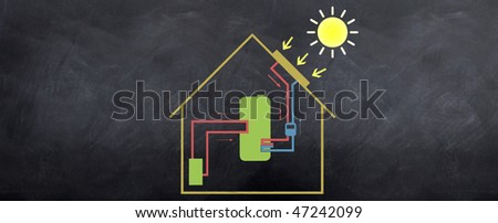 A sketch of how the solar energy works in a house with a water boiler. Environmental friendly house. - stock photo