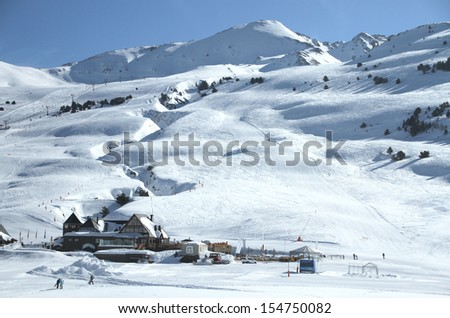 A ski resort in the Pyrenees Mountains on the French and Spanish border. - stock photo