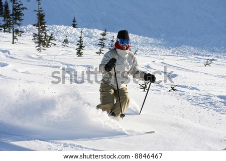 A skier descends a trail on Whistler Mountain. - stock photo