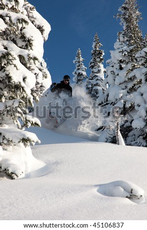 A skier glides through fresh powder on a sunny day.
