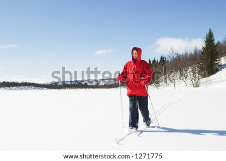A skier on a wintery snow filled landscape. - stock photo
