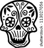 A skull with flowers drawn in black and white - stock vector