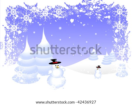 A sky blue christmas scene with a snowman and swirls and snowflakes