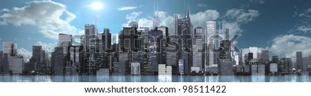 a skyline of a big imagined city - stock photo