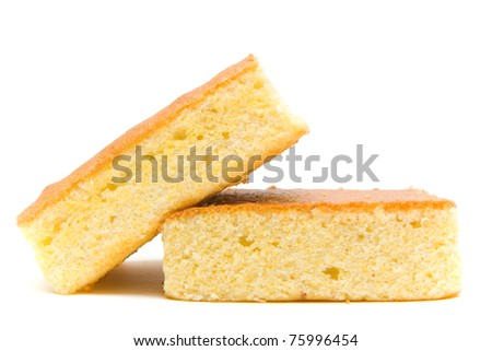 A slant stacked corn bread slice