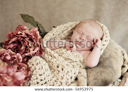 A sleeping baby girl in a basket with blankets and vintage flowers, soft focus with shallow depth of field - stock photo