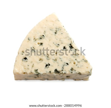 a slice of cheese with mold isolated on white background - stock photo