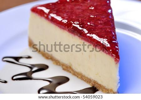 A slice of cherry cheesecake. - stock photo