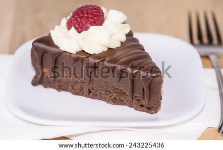 A slice of chocolate cake  - stock photo