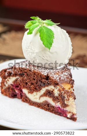 A slice of chocolate cake with ice cream - stock photo