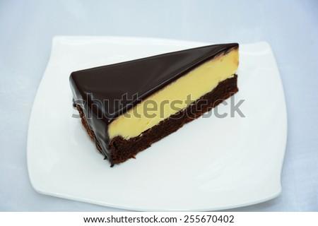 A slice of chocolate cheesecake - stock photo