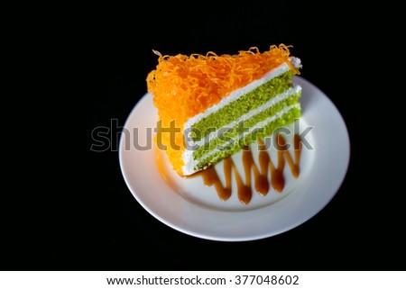 A slice of Foi Thong Cake (sweet egg yolk)  - stock photo