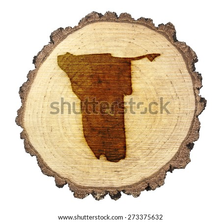 A slice of oak and the shape of Namibia branded onto .(series) - stock photo