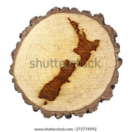 A slice of oak and the shape of New Zealand branded onto .(series) - stock photo