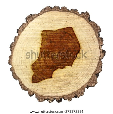 A slice of oak and the shape of Uganda branded onto .(series) - stock photo
