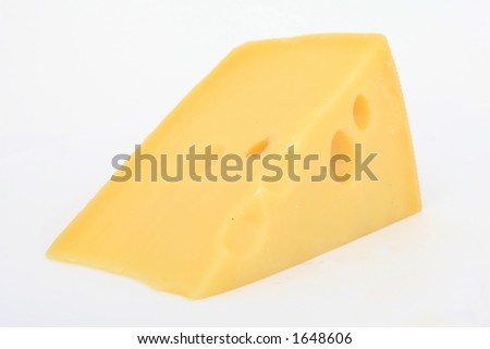 A slice of plain yellow swiss cheese - stock photo