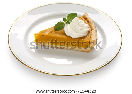 a slice of pumpkin pie on white background - stock photo
