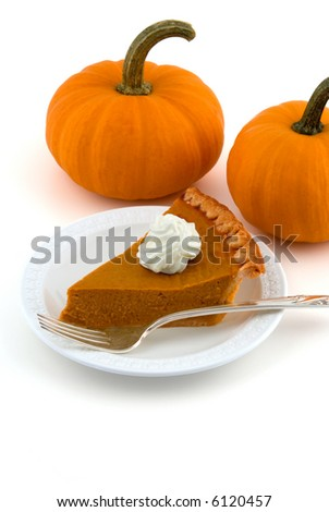 A Slice of Pumpkin Pie with Two Pumpkins Isolated on White - stock photo