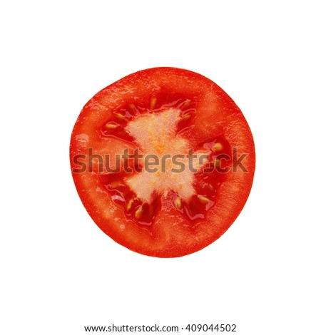 A slice of tomato, isolated on white background - stock photo