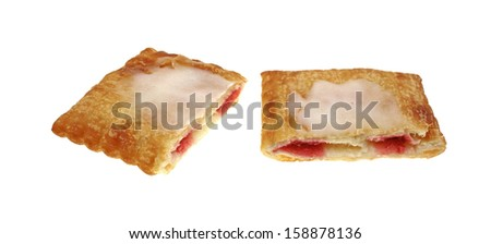 A sliced frosted cream cheese and strawberry pastry on white.