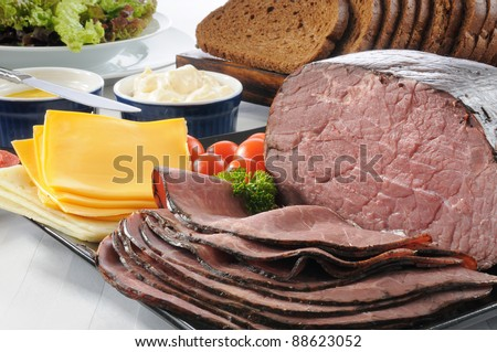 A sliced roast beef sandwich buffet - stock photo