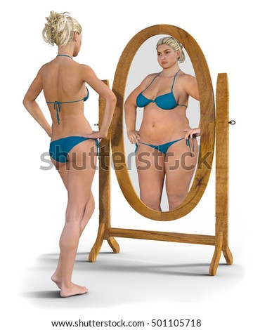 Slim young girl bikini looks into stock illustration for Miroir qui se colle