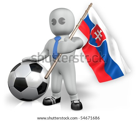 A Slovakia football fan with a ball and a flag - stock photo
