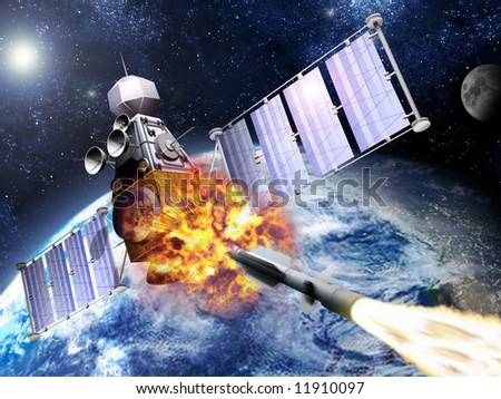 A SM-3 missile smashing into a spy satellite. - stock photo