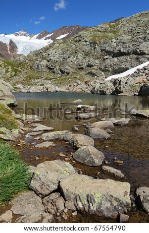 A small alpin lake at 2700 meters on the sea-level near Gavia Pass, Brixia province, Lombardy region, Italy. San Matteo glacier as background - stock photo