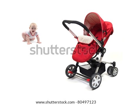 A small baby girl and a red pram