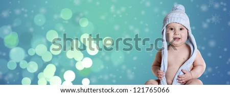 a small baby, with only a blue cap - stock photo