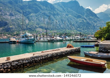 A small bay with boats. Kotor. Montenegro