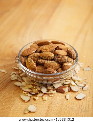 A small bowl of whole almonds. - stock photo