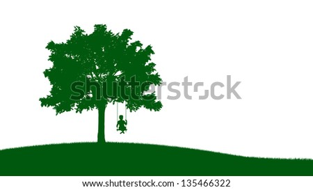 A small boy on a swing - silhouette illustration - stock photo