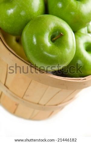 A Small Bushel of Fresh Granny Smith apples - stock photo