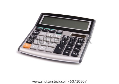 A small calculator, isolated on a white background.
