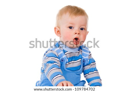 A small child is coughing isolated on white background