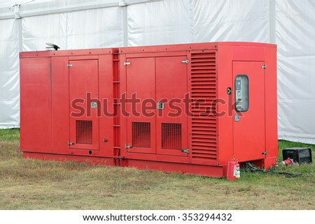 A small diesel emergency power plant, nobody - stock photo