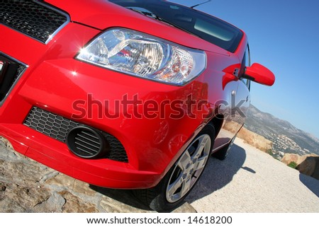 a small family car detail - stock photo