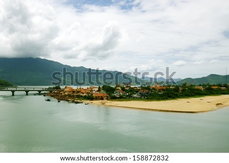 A small fishing village in Binh Dinh, Vietnam - stock photo