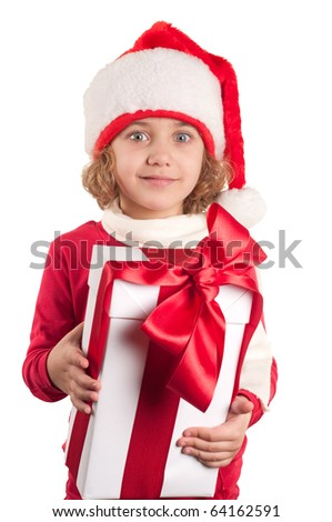 a small girl with a christmas hat and a present
