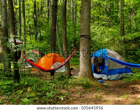 A small grouping of tents and a hammock slung between two trees out in the wilderness. - stock photo