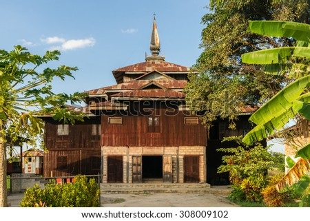 A small hidden temple off the main road near Nyaung Shwe at Inle Lake in Myanmar - stock photo
