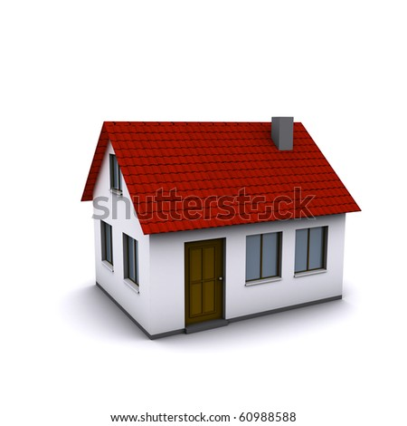 A small house with red roof on a white background. Created in 3D. - stock photo