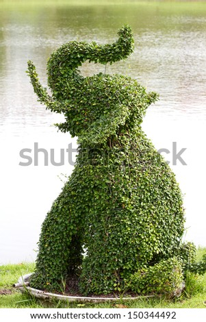 A small leaf tree can force to any shape, Elephant very popular in Thailand gardening  - stock photo