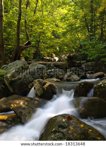 A small mountain stream at the beginning of fall - stock photo